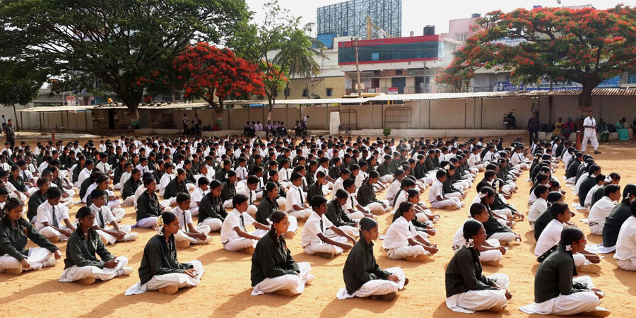 AVSK Activities organized in Swmai Vivekananda High School, Chandapura, Bengaluru on July'2014